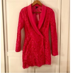 Hot Pink Lace Tuxedo Dress by NBD, NWT!